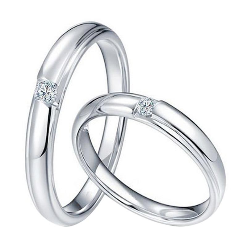 Tiaria Morning Dew Diamond Cincin Pernikahan Emas Putih [18K]