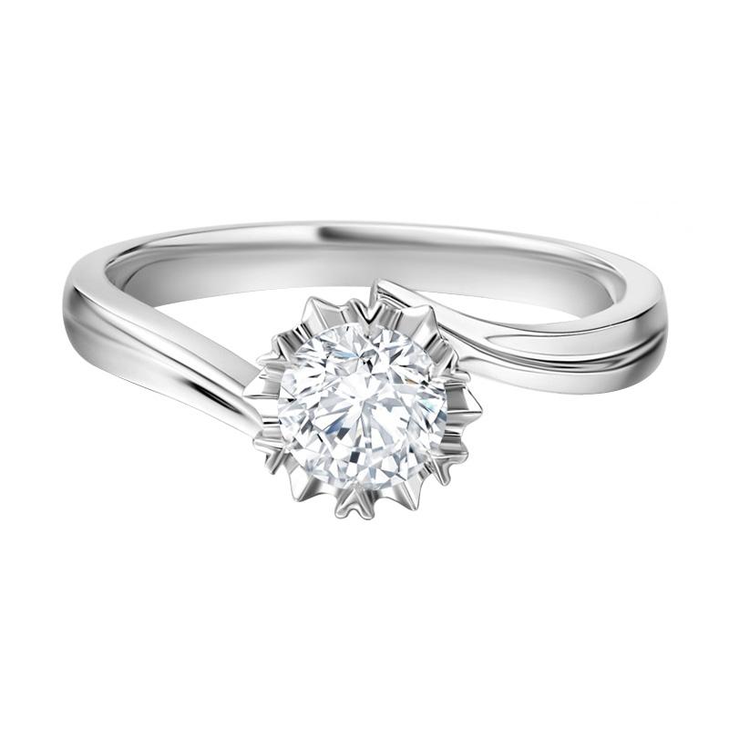 Tiaria snowflake Diamond Cincin Tunangan Berlian emas [18K]