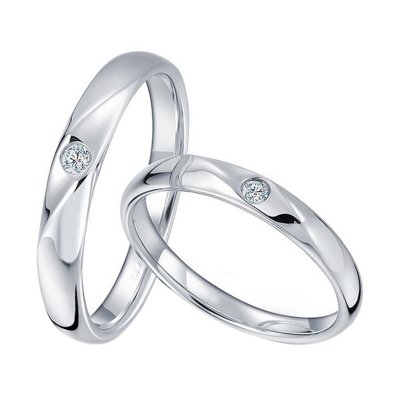 Tiaria Sparkling Star Diamond Cincin Pernikahan Emas Putih [18K]