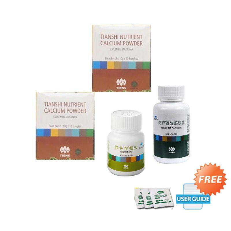 Tiens Suplemen Peninggi Badan Paket Efektif 20 hari [2 NHCP+Zinc+Spirulina] + Panduan & Teh Detox