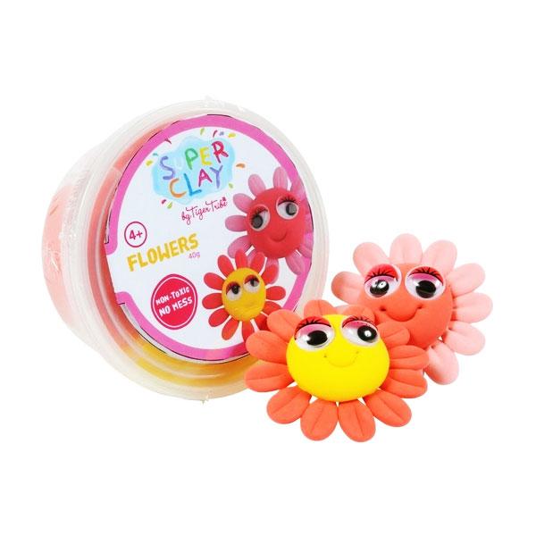 Tiger Tribe Super Clay Mini Tub CDUs Girls Flower Mainan anak