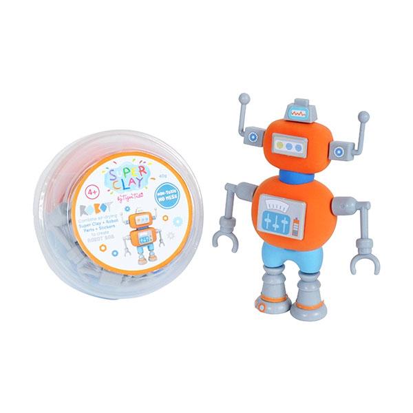 Tiger Tribe Super Clay Mini Tub CDUs Robots Bob Mainan anak