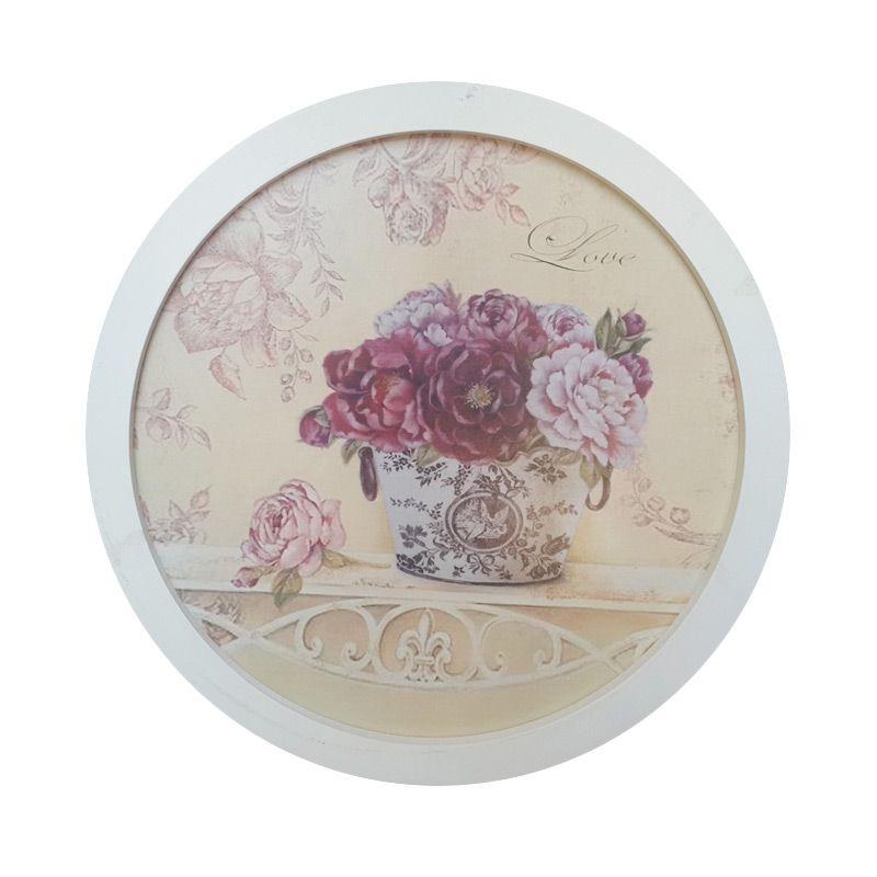 TilaVie Bulat Motif Bunga Mawar Putih Nampan