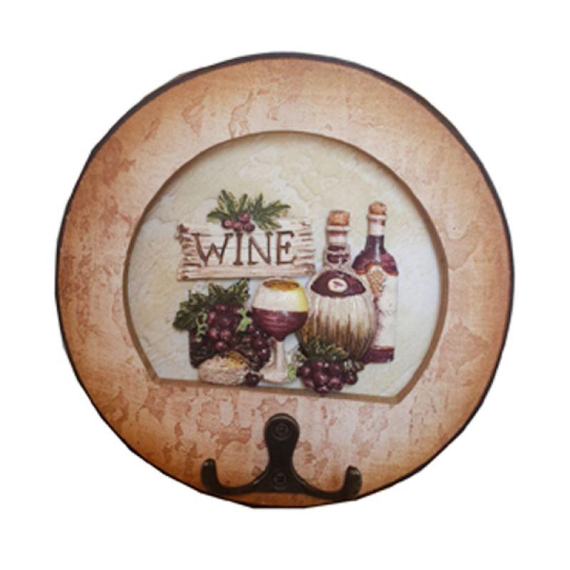 TilaVie Motif Wine Coklat Gantungan Kunci Bulat