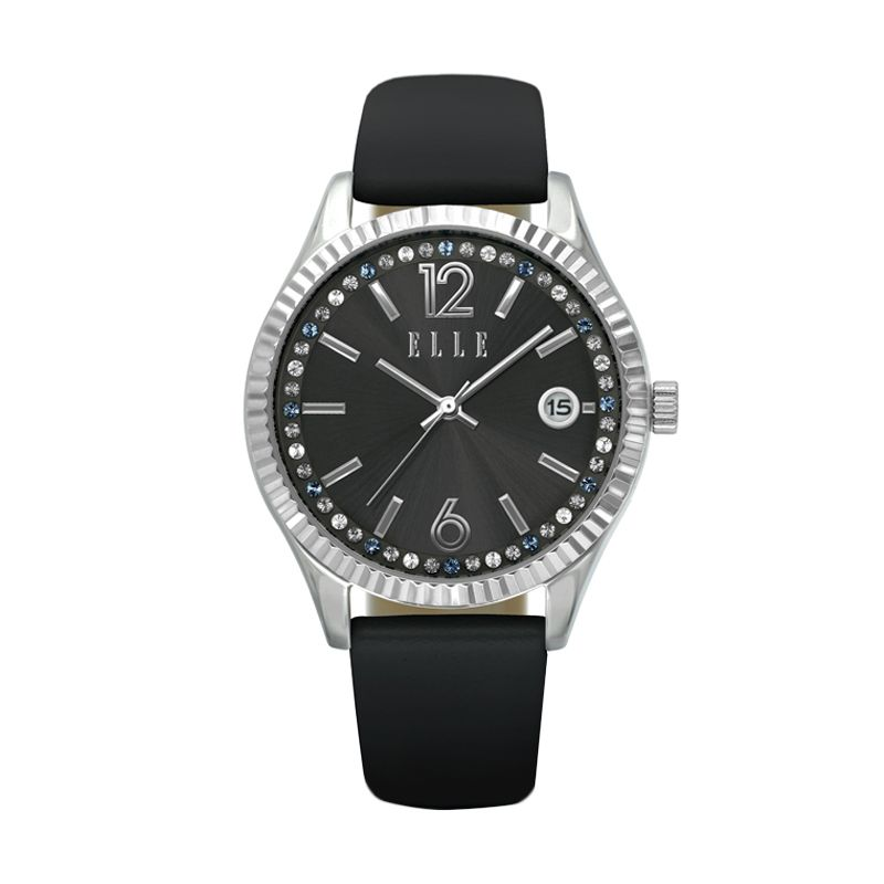 Elle Time Leather EL20331S06C Black Jam Tangan Wanita