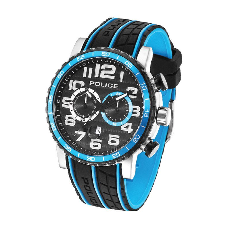 Police Power Slide Black Blue Jam Tangan Pria