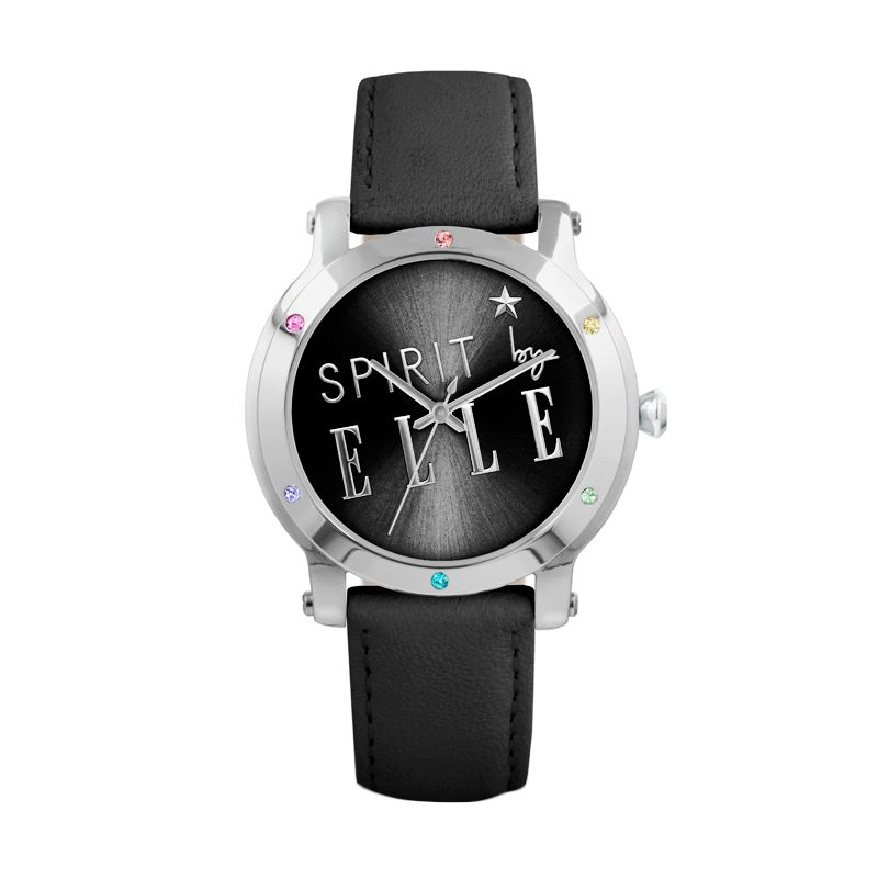 Spirit by Elle ES20029S01X Black Leather strap Jam Tangan Wanita