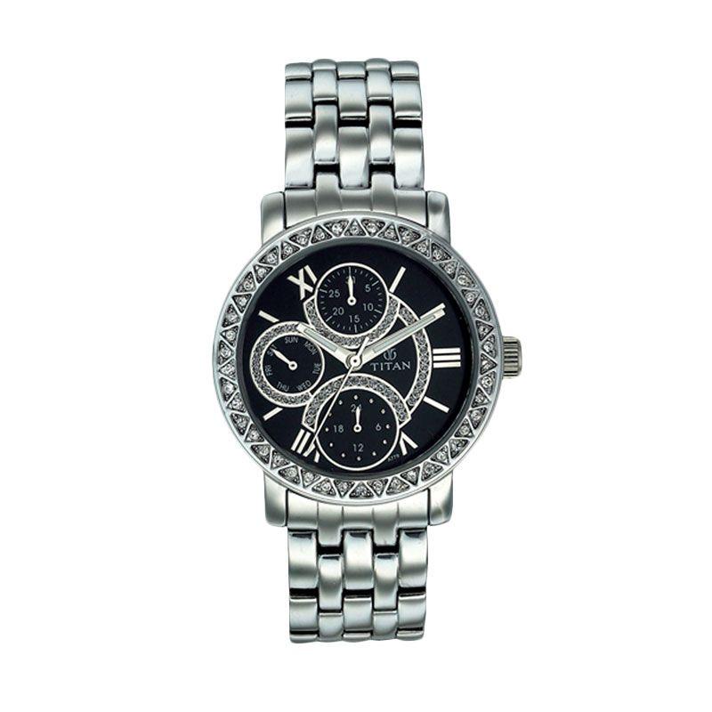 Titan TI 9743SM02 Silver Hitam Jam Tangan Wanita