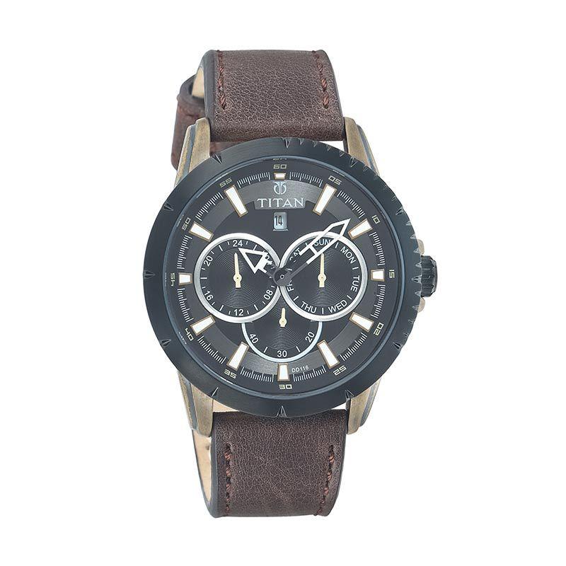 Titan Octane 9484KL01 Brown Leather Strap Jam Tangan Pria