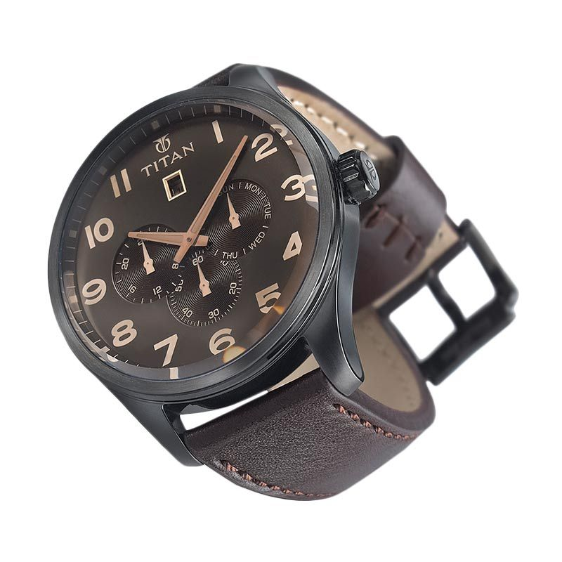 Titan Purple 9483NL01 Brown Leather Strap Jam Tangan Pria
