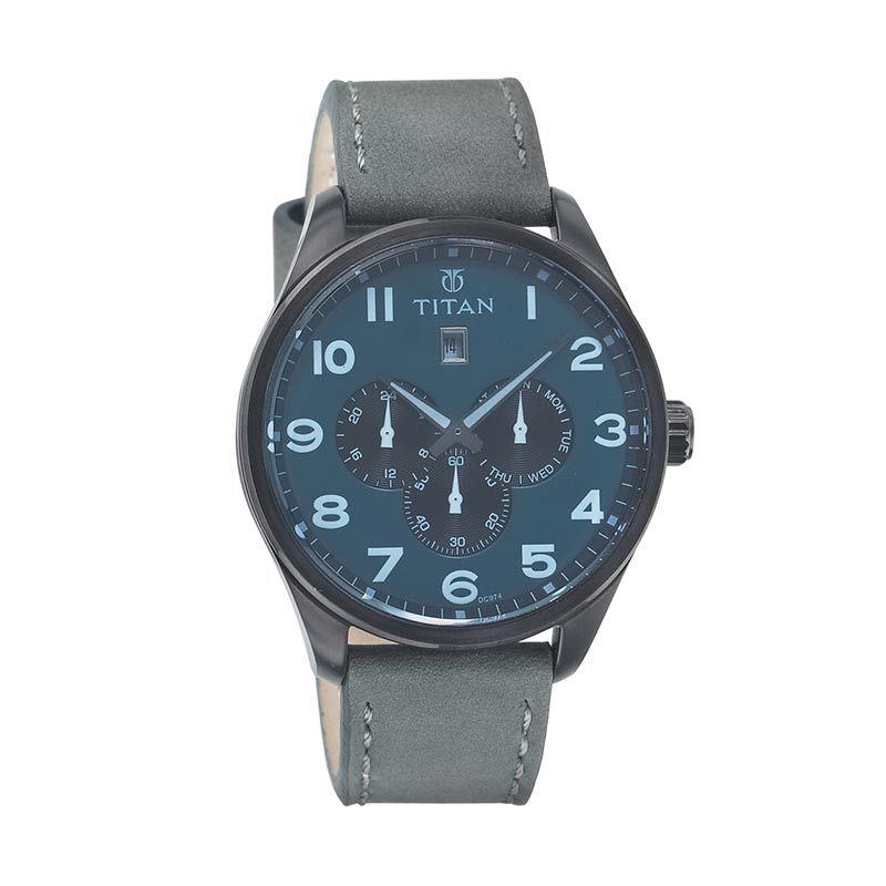 Titan Purple 9483NL04 Grey Leather Strap Jam Tangan Pria