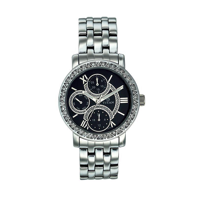 Titan Purple 9743SM02 Silver Stainless Bracelet Jam Tangan Wanita