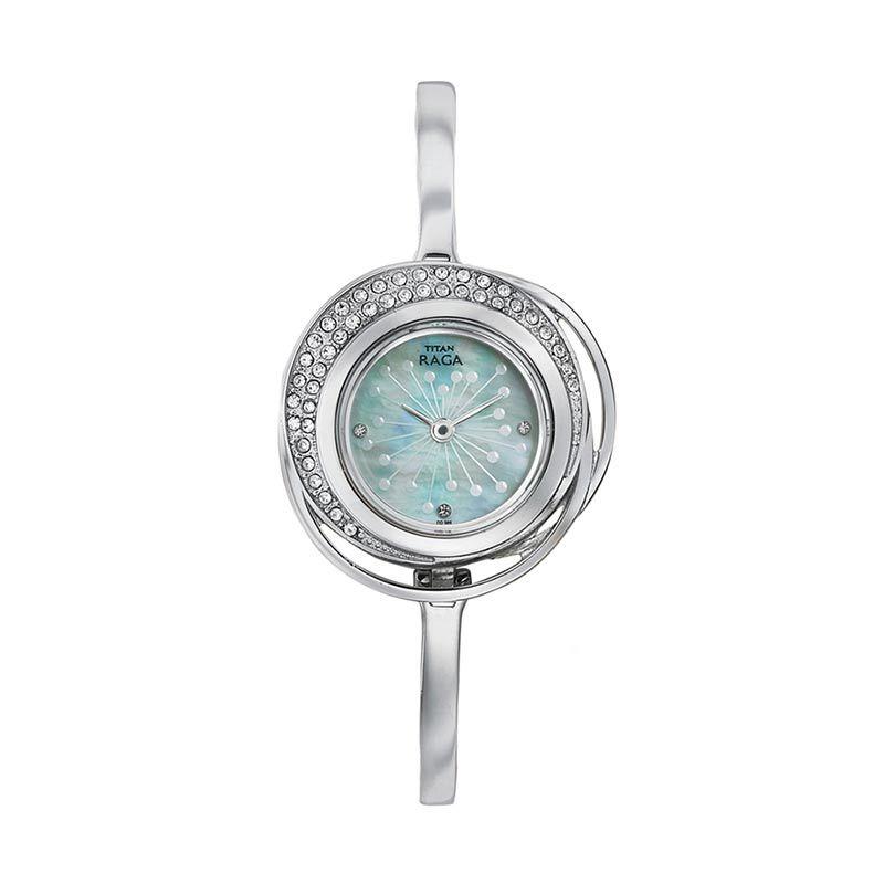 Titan Raga Edge of Garden 95003SM01 Silver Bracelet Jam Tangan Wanita