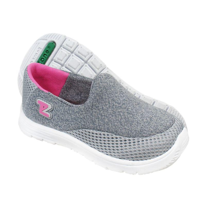 Toezone Kids Reno Grey Flora Sepatu Anak Perempuan