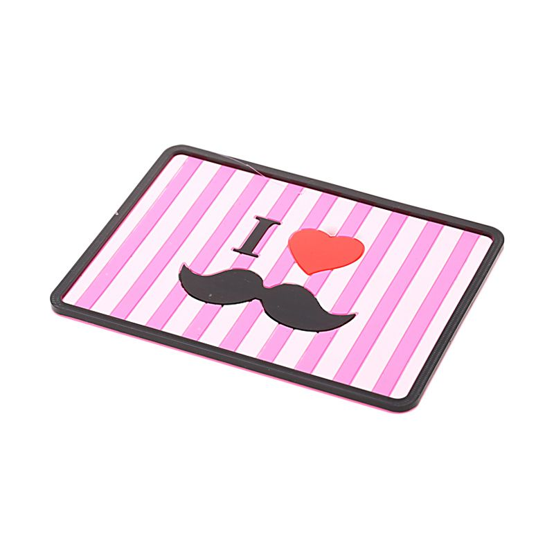 1 Price I Love Moustache Non Slip Pink Mat Dashboard