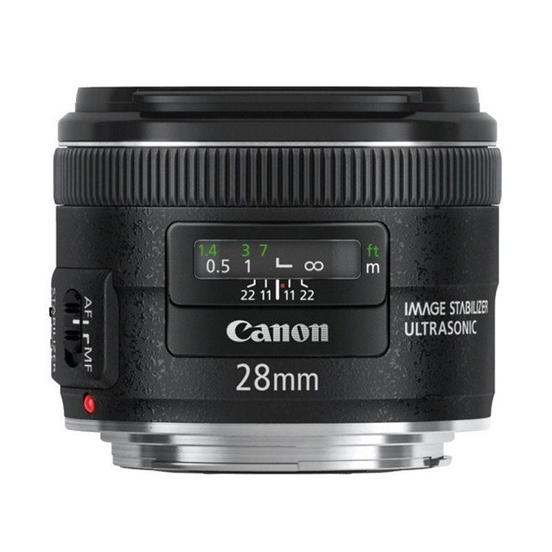 Canon EF 28mm f/2.8 IS USM Hitam Lensa Kamera