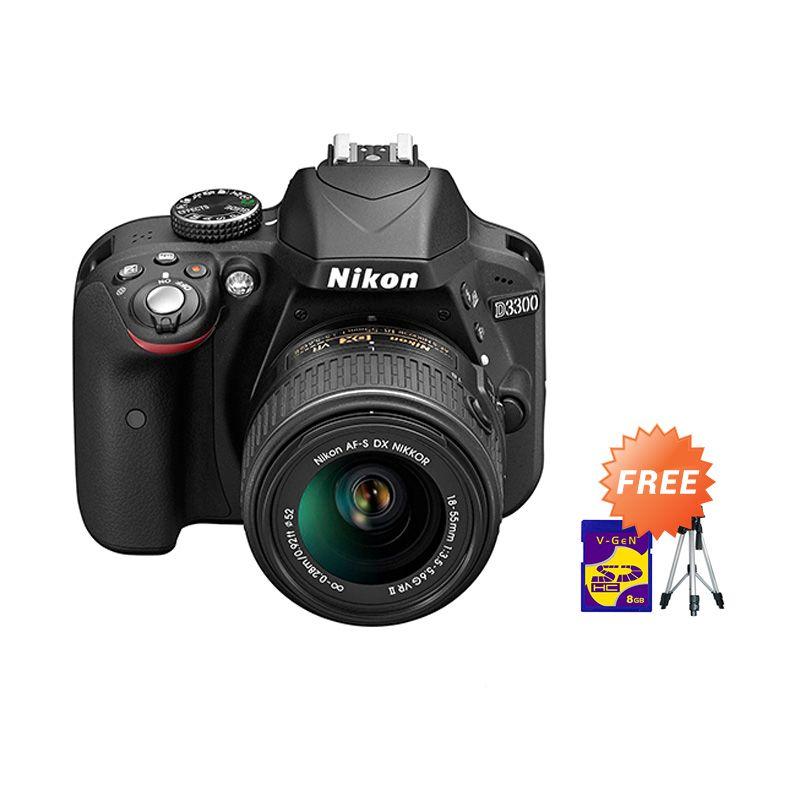 Nikon D3300 Kit 18-55mm VR II Hitam Kamera DSLR + Tripod  + Memory Card 16GB