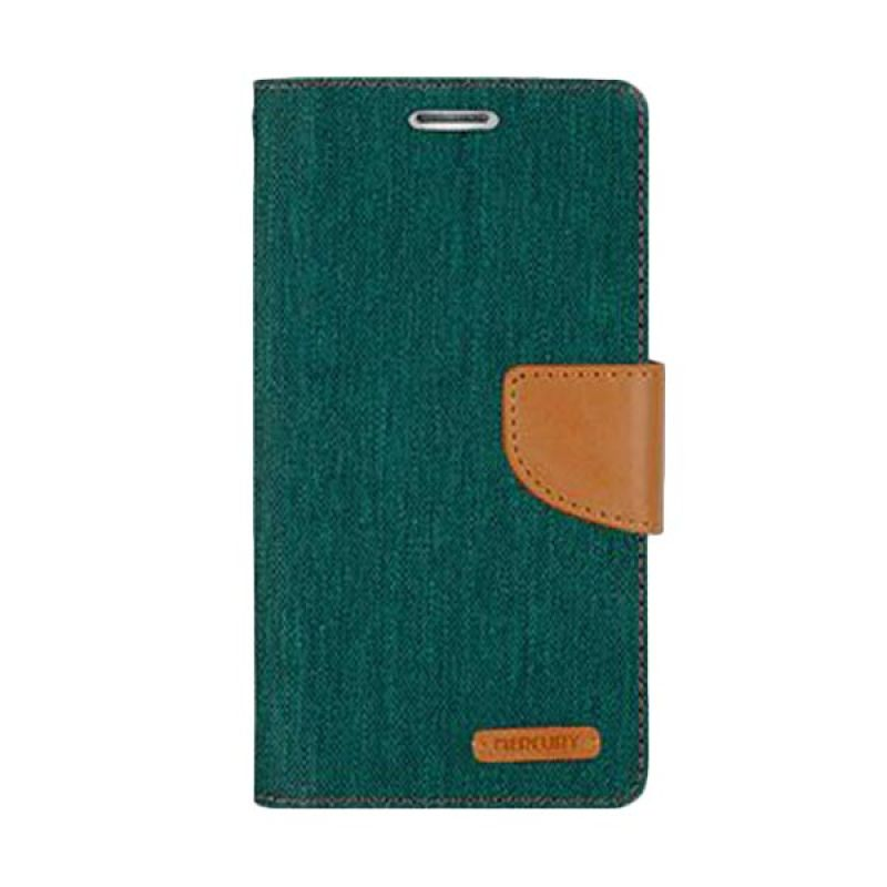 Mercury Goospery Canvas Diary Green Casing for Asus Zenfone 5