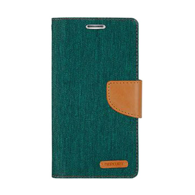Mercury Goospery Canvas Diary Green Casing for Galaxy Note 3