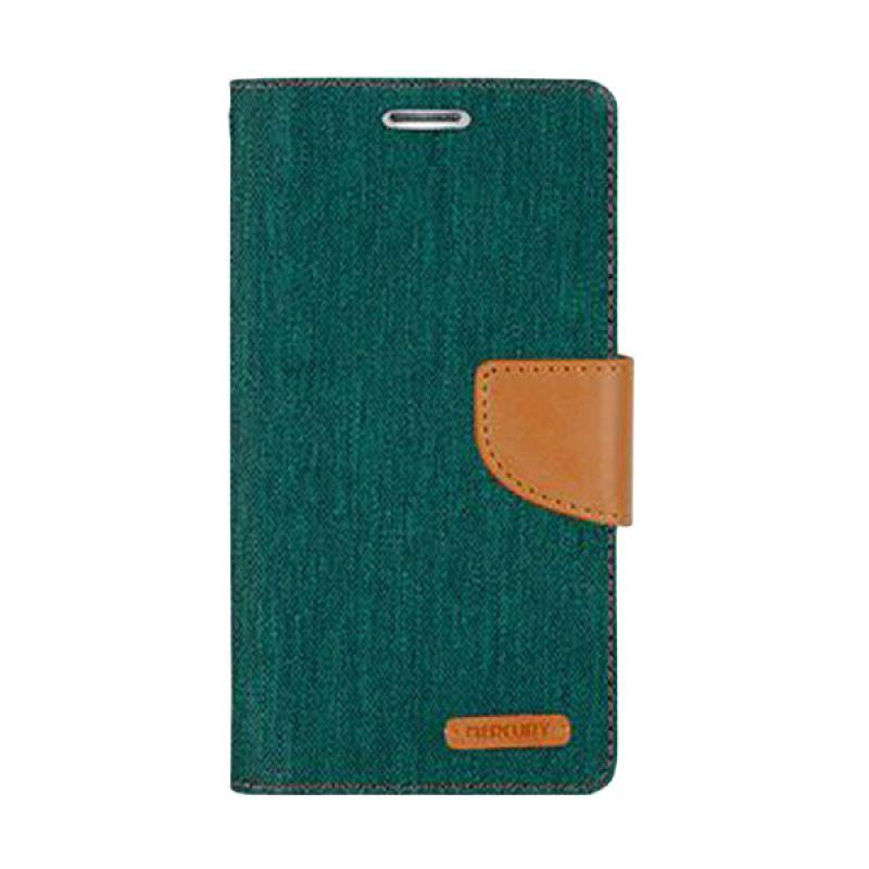 Mercury Goospery Canvas Diary Green Casing for Galaxy S6