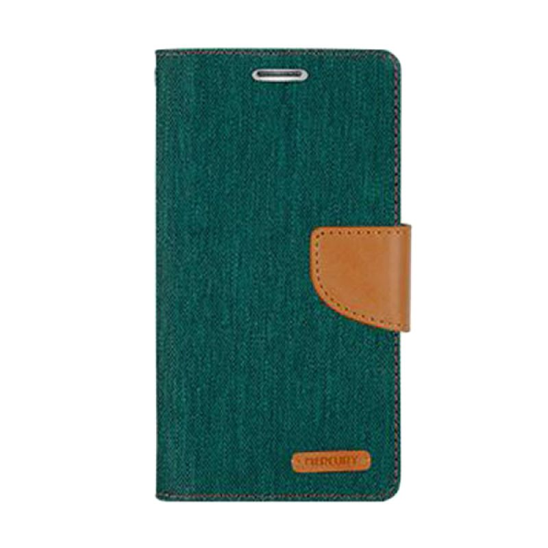 Mercury Goospery Canvas Diary Green Casing for Sony Xperia C3
