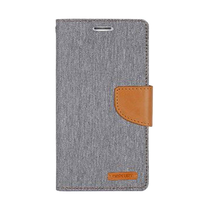 Mercury Goospery Canvas Diary Grey Casing for Galaxy Note 3