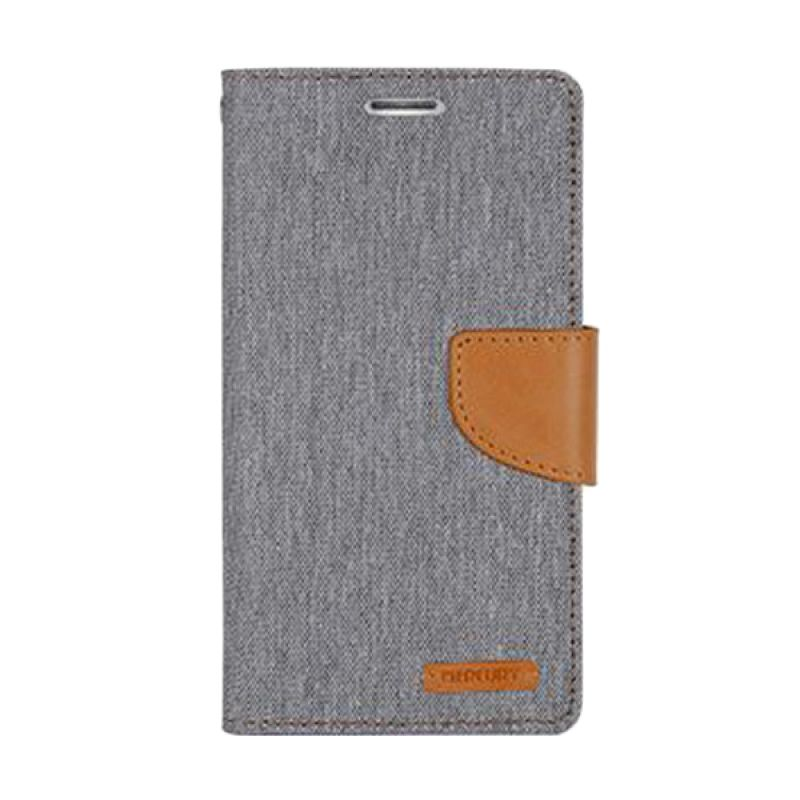 Mercury Goospery Canvas Diary Grey Casing for Sony Xperia C3