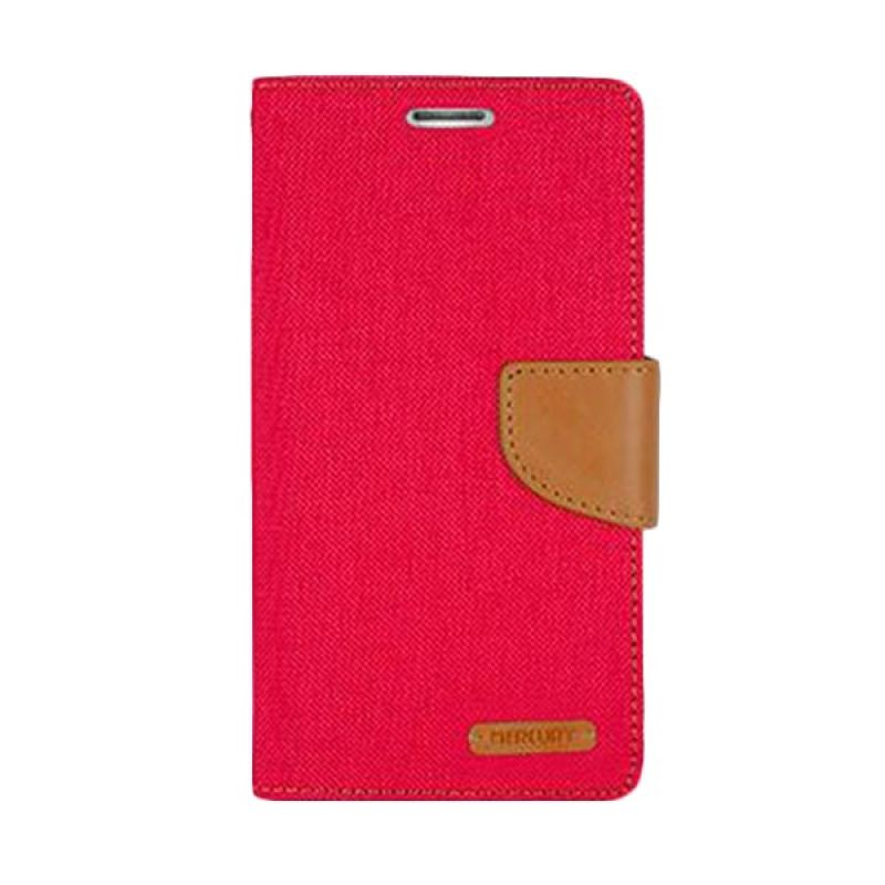 Mercury Goospery Canvas Diary Red Casing for Asus Zenfone 5