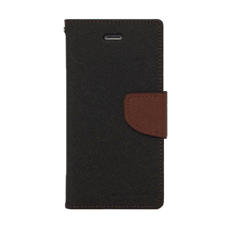 Mercury Goospery Fancy Diary Black Brown Casing for Samsung Galaxy Note 2