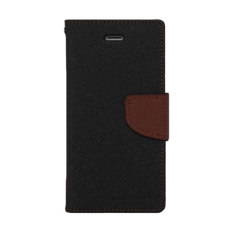 Mercury Goospery Fancy Diary Black Brown Casing for Sony Xperia T2