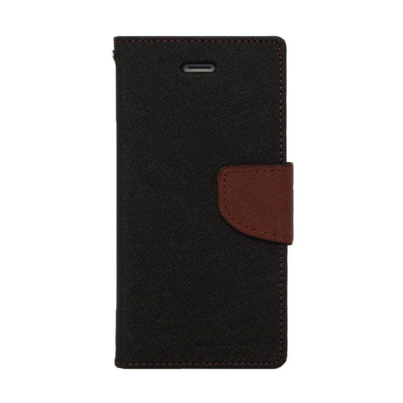 Mercury Goospery Fancy Diary Black Brown Casing for Zenfone 4 A450CG
