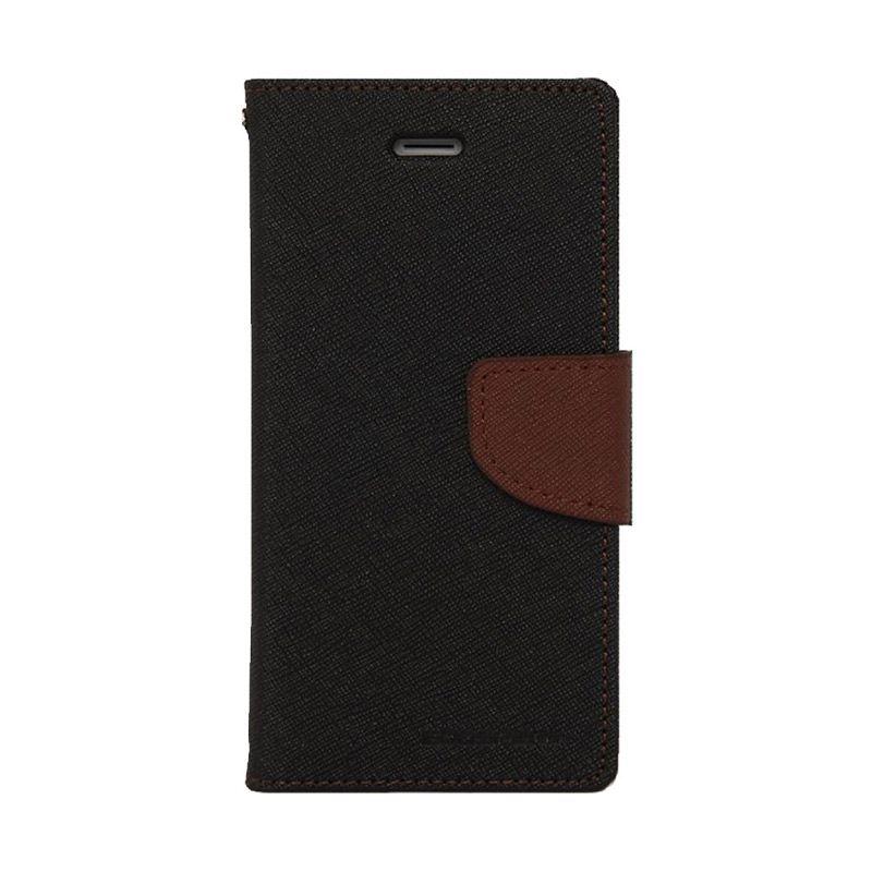 Mercury Goospery Fancy Diary Black Brown Flip Cover Casing for Galaxy Note 4