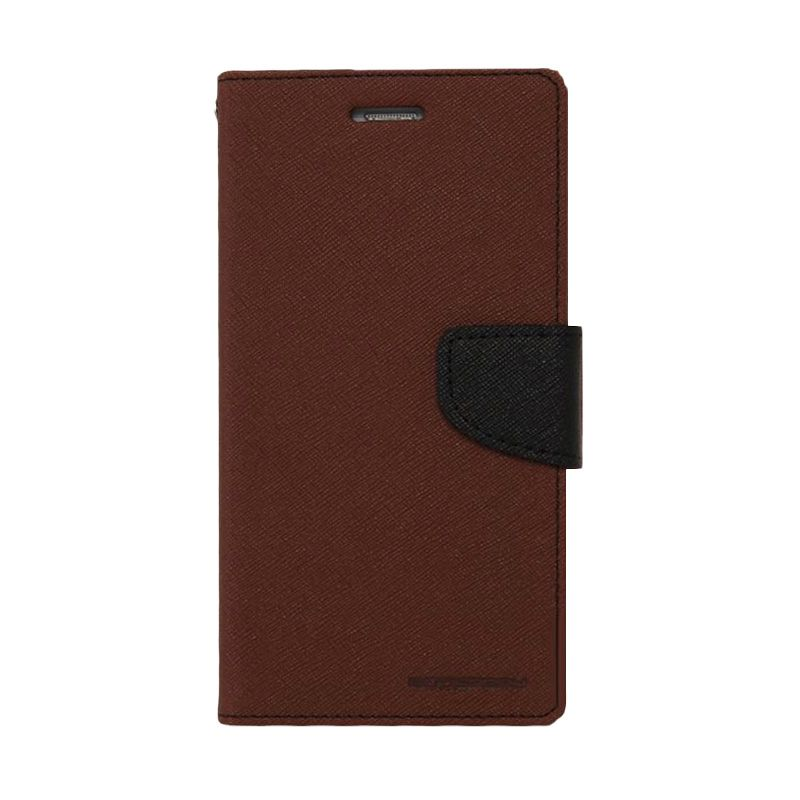 Mercury Goospery Fancy Diary Brown Black Casing for Galaxy Ace 3