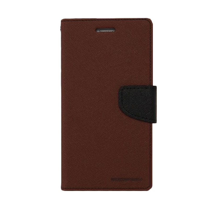 Mercury Goospery Fancy Diary Brown Black Casing for Galaxy Core 2