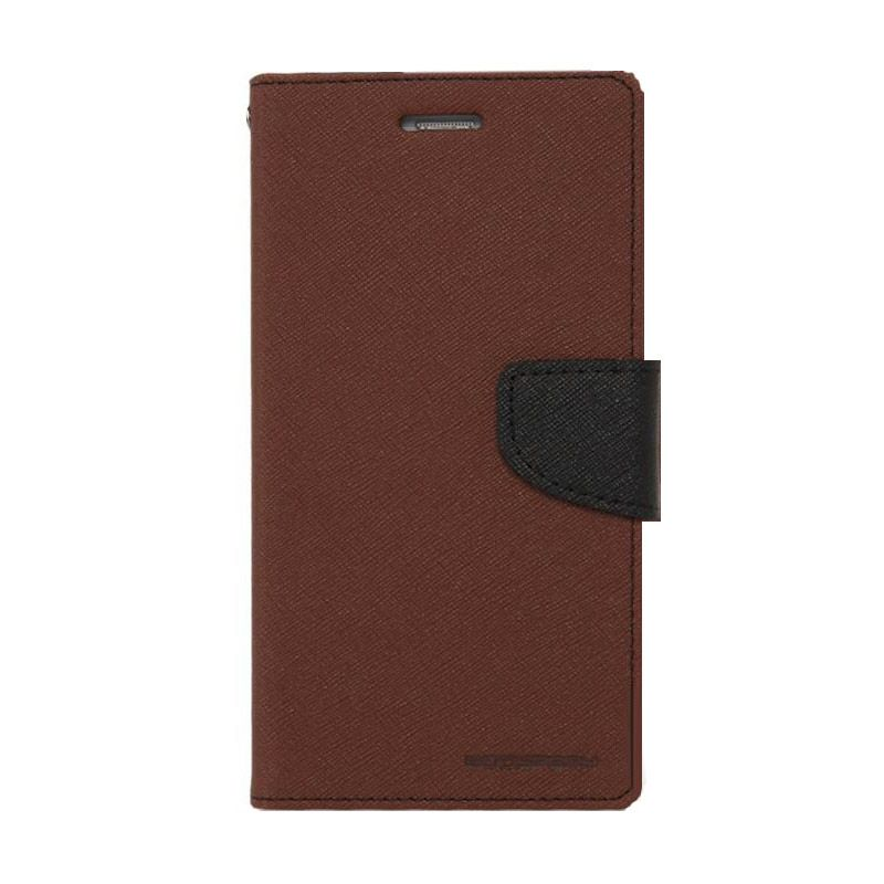 Mercury Goospery Fancy Diary Brown Black Casing for HTC One Mini