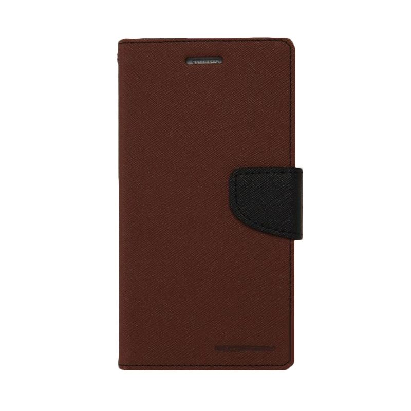 Mercury Goospery Fancy Diary Brown Black Casing for Oppo N1 Mini