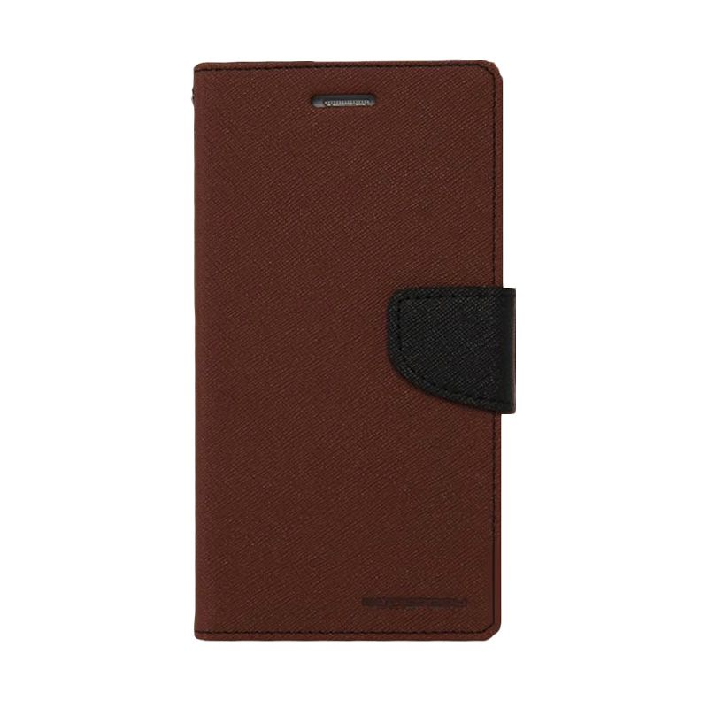 Mercury Goospery Fancy Diary Brown Black Casing for Samsung Galaxy S6