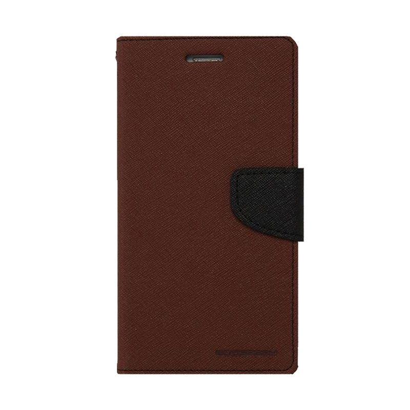 Mercury Goospery Fancy Diary Brown Black Casing for Xiaomi Redmi Note
