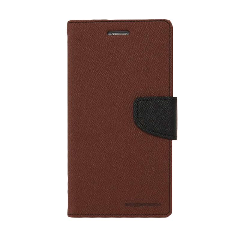 Mercury Goospery Fancy Diary Brown Black Casing for Xperia C3