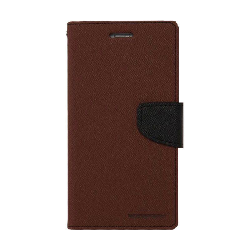 Mercury Goospery Fancy Diary Brown Black Casing for Xperia Z3
