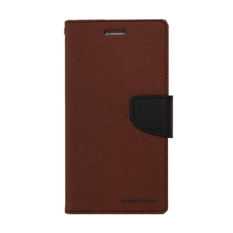 Mercury Goospery Fancy Diary Brown Black Casing for Zenfone 2 ZE551ML