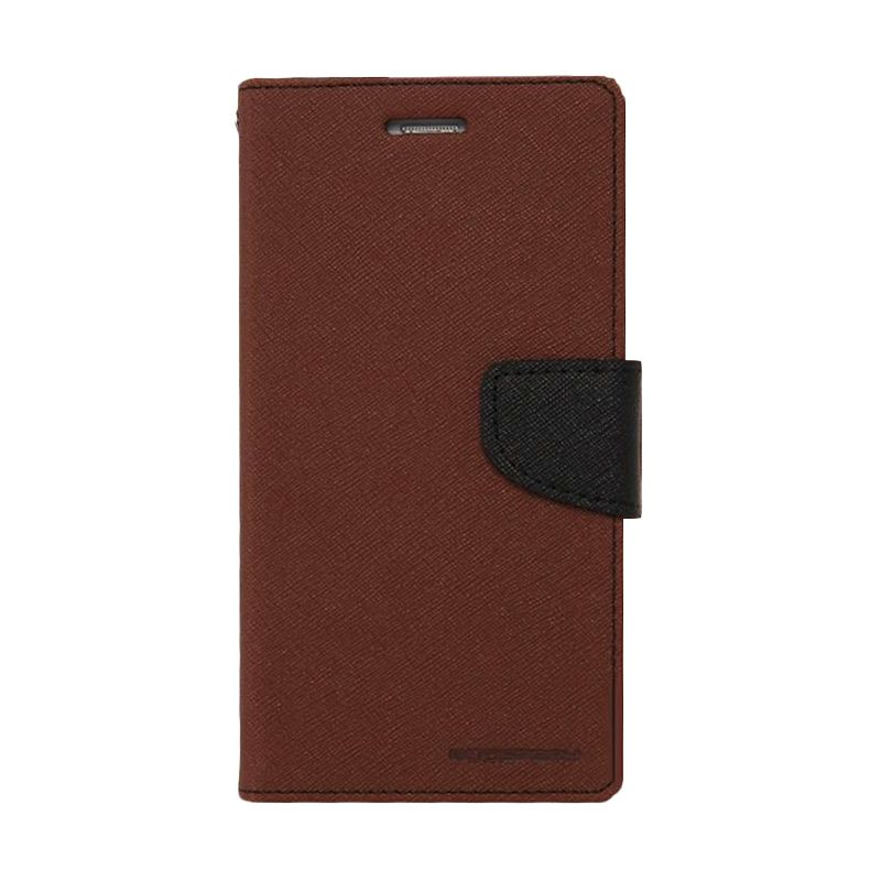 Mercury Goospery Fancy Diary Brown Black Flip Cover Casing for Oppo R5