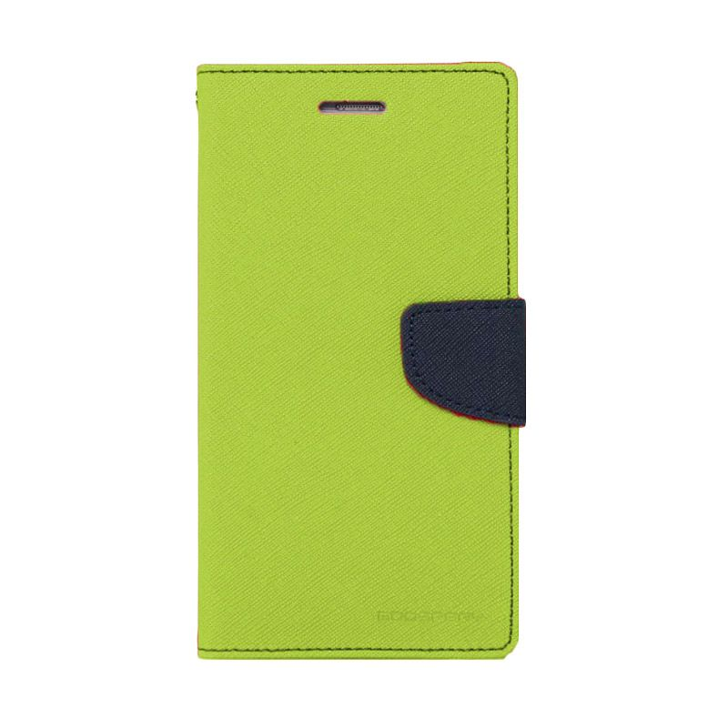 Mercury Goospery Fancy Diary Lime Navy Flip Cover Casing for Nokia XL