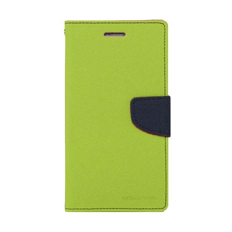 Mercury Goospery Fancy Diary Lime Navy Flip Cover Casing for Oppo Find 7