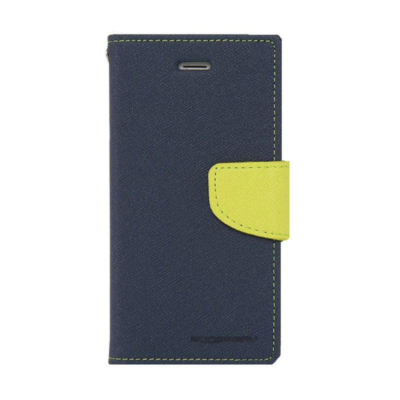 Mercury Goospery Fancy Diary Navy Lime Casing for Galaxy S4