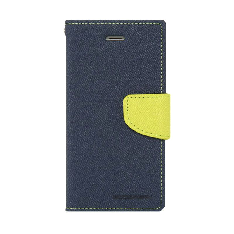 Mercury Goospery Fancy Diary Navy Lime Casing for HTC New One
