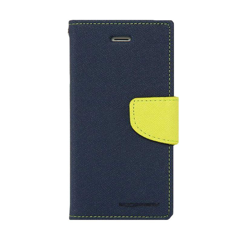 Mercury Goospery Fancy Diary Navy Lime Casing for HTC One Mini