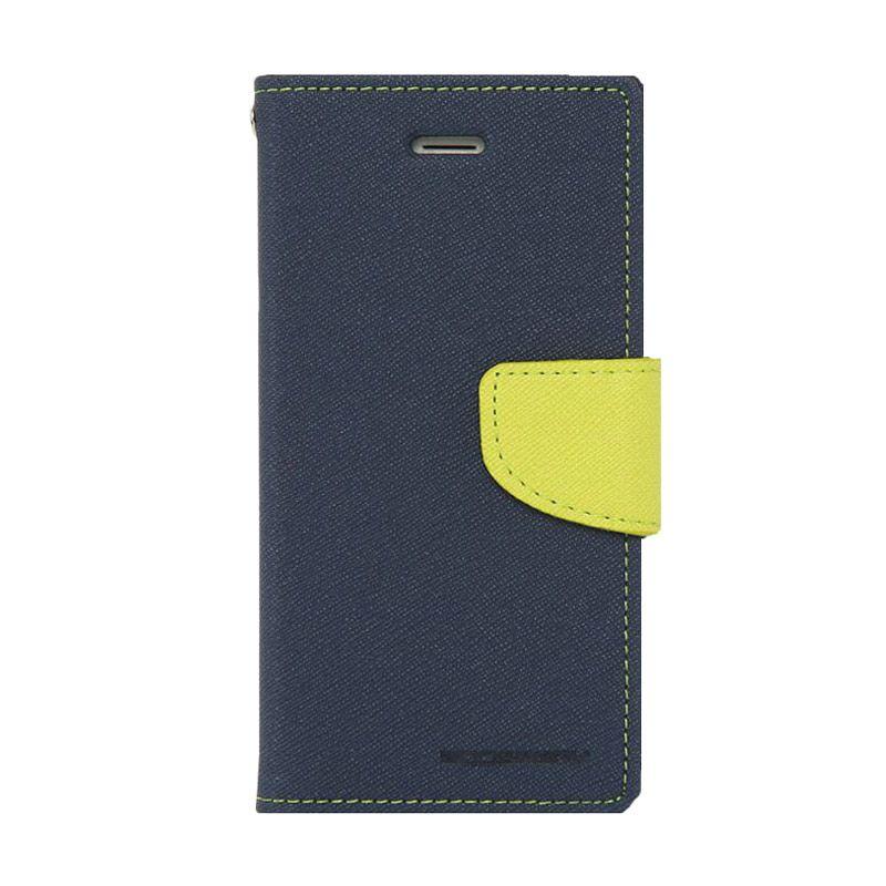 Mercury Goospery Fancy Diary Navy Lime Casing for Oppo Neo