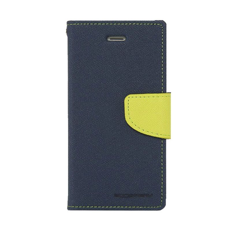 Mercury Goospery Fancy Diary Navy Lime Flip Cover Casing for Galaxy A5