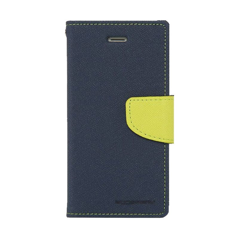 Mercury Goospery Fancy Diary Navy Lime Flip Cover Casing for Galaxy Note 4